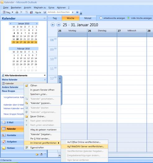 Erstellen einer WebDAV-Veröffentlicheung in MS-Outlook