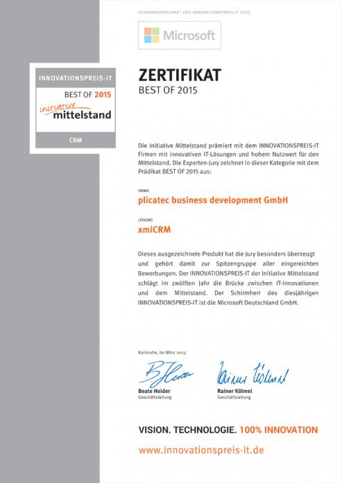 xmiCRM erhält den INNOVATIONSPREIS-IT 2015
