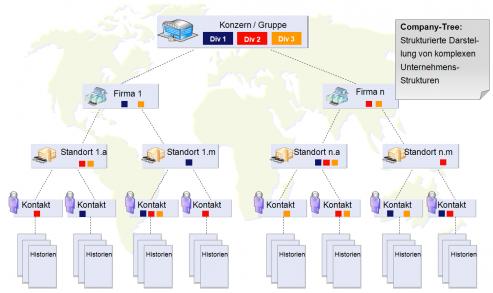 Firmenstruktur in xmiCRM