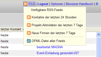 Menü des RSS-Feeds